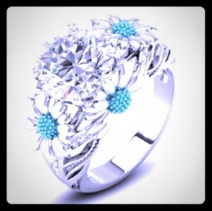 Jewelry - High Prong Blue Daisy Ring